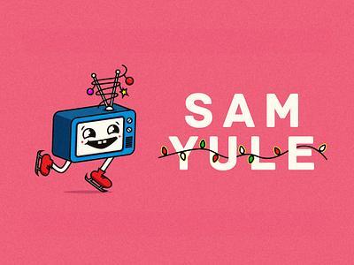 SAMYule winter skate television yule christmas character clean icon edmonton flat illustration