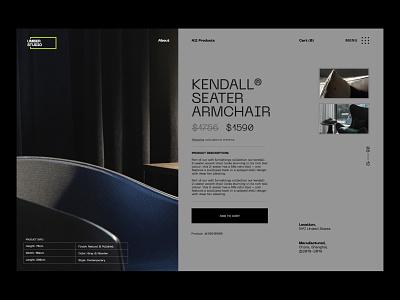 UMBER Studio Single Product armchair minimal user interface web design branding interior studio interior design furniture shop ecommerce shop ecommerce design ecommerce