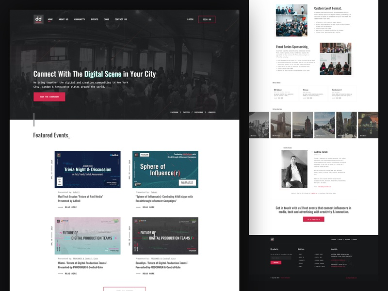 Digital DUMBO clean website tech platform platform community digital community event event platform user interface design layout web design branding