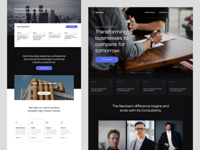 Nextsem Digital Consultancy minimalist management service corporate website layout homepagedesign professional advisory consulting logo web design consultant consultancy consulting
