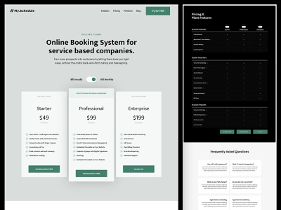 My Schedule   Pricing Plans website pricing table user interface web design scheduling tool booking pricing plans landing page saas landing page saas website booking app appointment