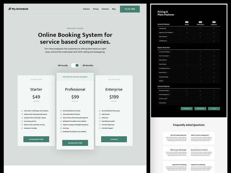 My Schedule | Pricing Plans website pricing table user interface web design scheduling tool booking pricing plans landing page saas landing page saas website booking app appointment