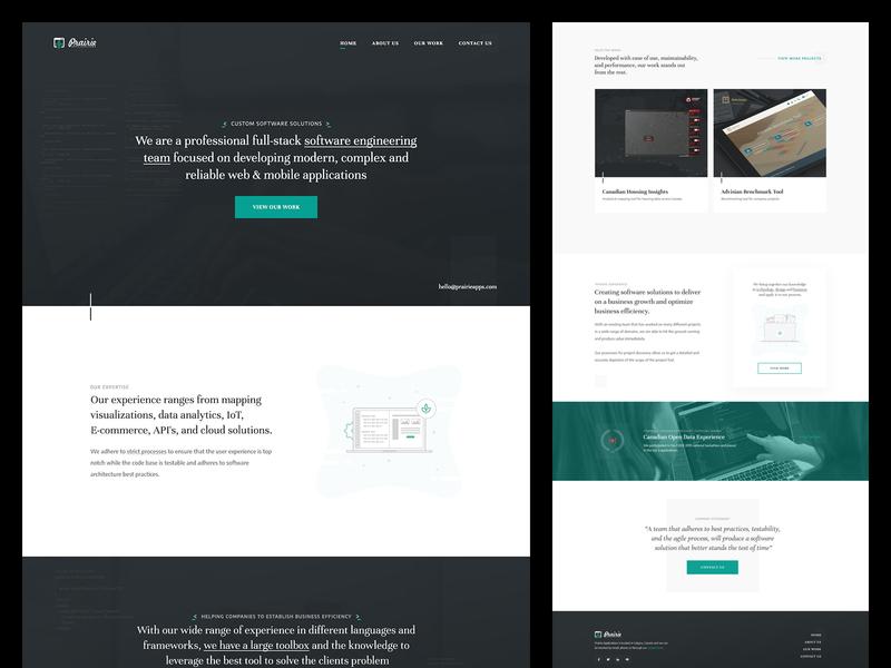 Prairie Software Developers | Homepage agency website development agency agency software developers homepage website user interface web design branding