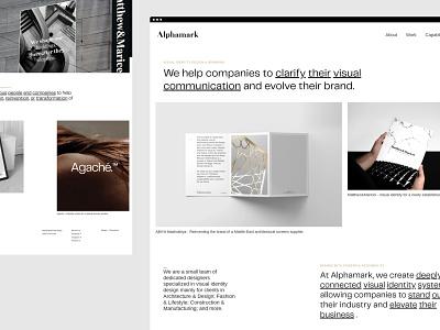 Alphamark — Branding Studio user interface visual identity designer visual identity portfolio agency agency website branding agency typography layout website branding studio digital studio digital agency