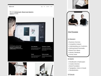 Alphamark — About Us digital agency digital studio branding studio portfolio website layout typography branding agency agency website agency portfolio visual identity visual identity designer user interface
