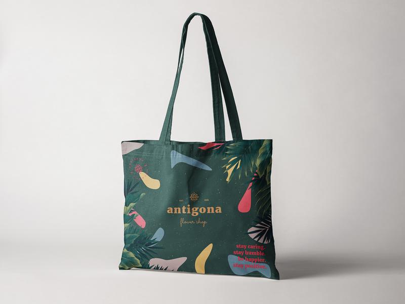 Antigona Tote Bag Design flower shopping bag mockup branding design logo design logo mark logo