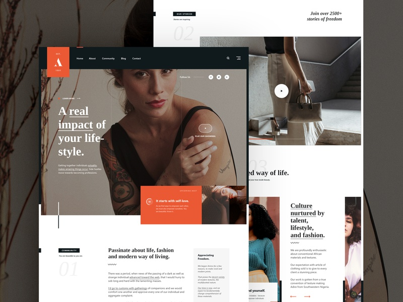 Arimo - Lifestyle & Fashion. modern layout community header grid logo ui ux design user interface fashion lifestyle web design layout homepage design homepage