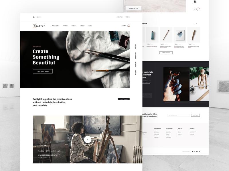 Crafty88 painters artist artists website art store user interface ui ecommerce art supplies layout homepage header web design
