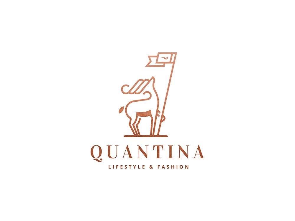 Quantina Logo typography branding animal logo fashion logo deer logo deer illustration logo design logo mark logo