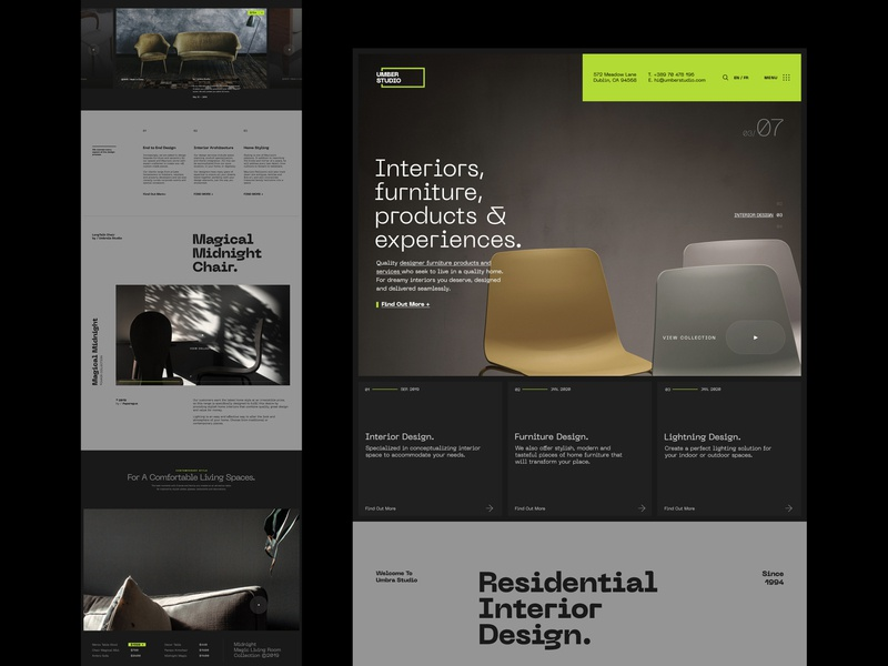 Umber Interiors / Design Studio clean ui website header user interface design web design layout typography branding