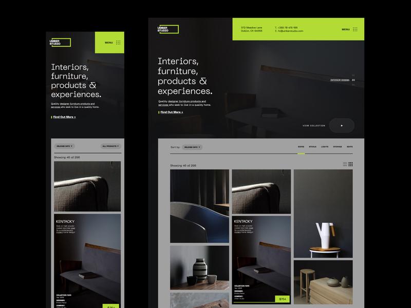 Umber Products furniture typography clean website products agency interior design studio header user interface design web design branding