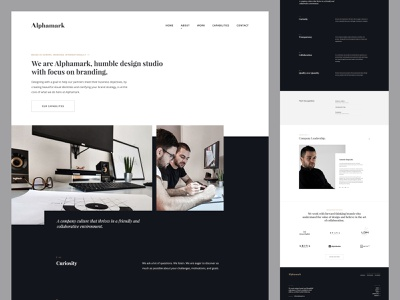 Alphamark About Us design layout typography header ui user interface web design branding about us about us page design agency design studio