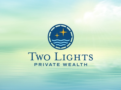 Two Lights Private Wealth v2 lights compass spyglass wealth two insurance financial logo design branding