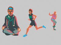Designing a set of illustrations/big icons for a sport app