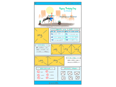 Wireframe for a event page