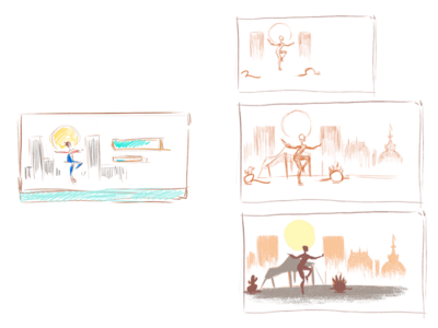 Sketches for a sport event illustration