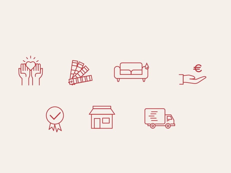 Icons Services Crozatier furniture store eshop ui design iconset icon design furniture icons design icons