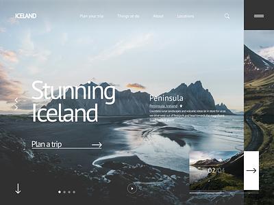Iceland Travel - Website travel journey beautiful picture iceland design ui figma