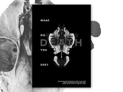 Rorschach Subconscious inkblot skull death emotion rorschach typography photoshop poster manipulation photo