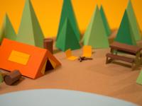 Paper Cut Camping Scene