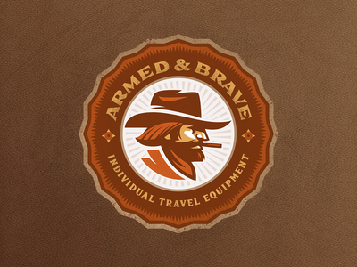 ARMED AND BRAVE traveling brand western design cowboy logo