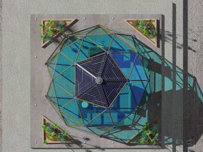 Top view tropical interiordesign hexagons 3d modeling 3d art