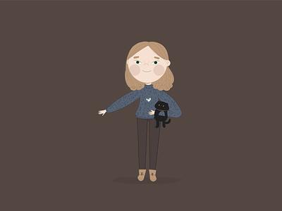 Девочка с котиком в векторе персонаж милый книжная иллюстрация детскаяиллюстрация кот девочка детская векторная графика векторні зображення design vector арт вектор typography minimal illustration