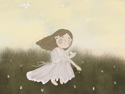 На поляне с птицами рисунок книжная иллюстрация детскаяиллюстрация детская девочка typography арт illustration