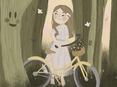 В Волшебном лесу добр лес велосипед branding детскаяиллюстрация книжная иллюстрация детская девочка typography арт illustration