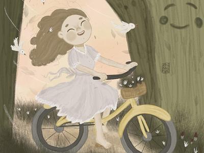 Мчимся на велосипеде детский велосипед детскаяиллюстрация minimal арт typography книжная иллюстрация девочка детская illustration