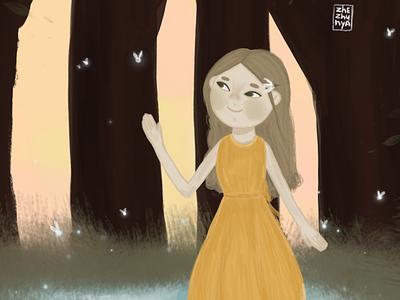 Светлячки и Белла детская девочка книжная иллюстрация детскаяиллюстрация typography арт illustration