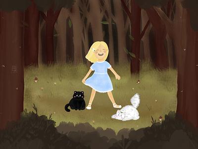 Girl and cat сборник сборник кот branding детский детская девочка книжная иллюстрация детскаяиллюстрация typography арт illustration