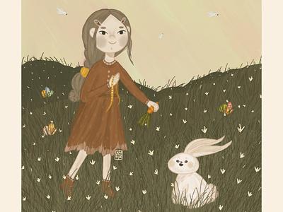 Пасхальный кролик, Пасхальная дружба branding детский design книжная иллюстрация детская девочка книжный детскаяиллюстрация иллюстрация кролик пасхальный пасхальный