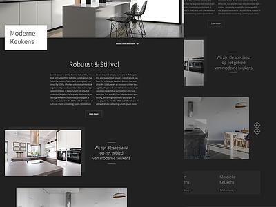 Kitchen Web Page dutch webdesigner webdesign warm modern white ux ui dark fresh clean black