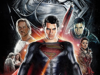 MAN OF STEEL - Final Illustrated Poster man of steel illustrated film poster art superman film