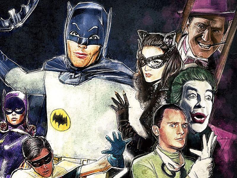 'Same Bat-Time, Same Bat-Channel!' batman 1966 reruns robin riddler joker catwoman penguin bat girl adam west retro illustration flashback