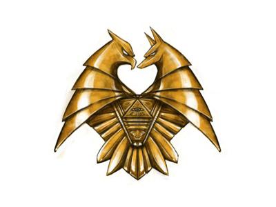 Illustrated Logo Fin. illustrated logo anubis horus emblem badge design gold