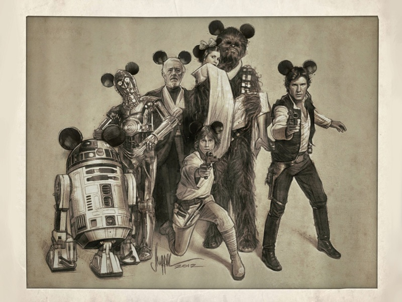 The Gang's All Here: Disney / LucasFilm Variant disney illustration lucasfilm star wars bottleneck gallery nyc show