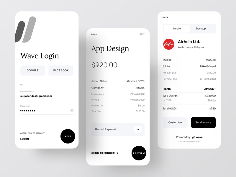 Wave Redesign: Invoicing and Money Management dribbble dribbble best shot ofspace agency ofspace money transfer money app accounts accounting account payment form payment method payment app payments payment invoice funding invoice template invoice design invoices invoice