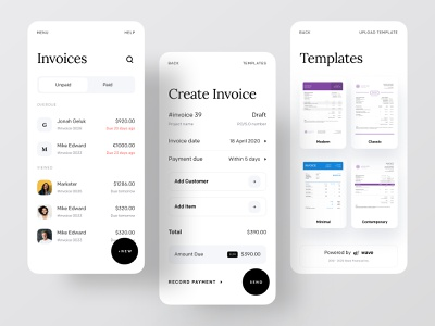 Wave Redesign: Invoicing and Money Management dribbble best shot dribbble ofspace agency ofspace waveform phonepe paytm paypal transferwise revolut money transfer payment money payment method payment app invoice template invoice design invoice waveapp wave
