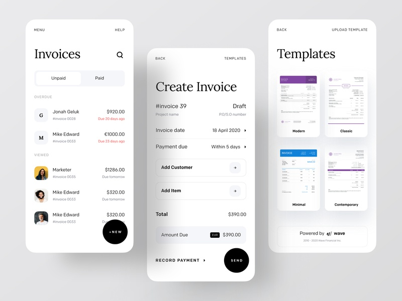 Wave Redesign: Invoicing and Money Management