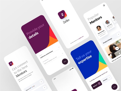 Zelio | Mentorship App color gradient design ux dribbble ofspace agency ofspace zelio app designer app design app mentors mentoring mentorship mentor dribbble best shot