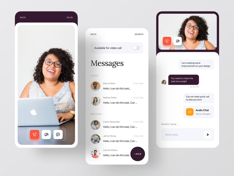 Zelio | Mentorship App (Video chats & Chat Experience) messagebird message app dribbble minimal app brand identity brand design brand branding agency branding design branding creative dribbble best shot ofspace ios app video call video chat message