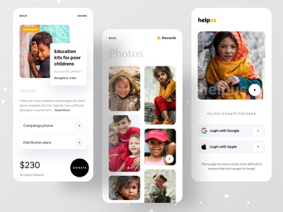 Helpus - Donate Program for the Disadvantaged childrens ios application brand branding design brand identity brand design branding dribbbleweeklywarmup dribbble ofspace agency ofspace dribbble best shot ios app development ios app design ios app application app design donating donation donate app