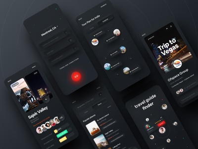 Easy Travel App - Dark Version creative template transition dark ui dask app application app design appdesign dribbble best shot dribbble 2021 ofspace acedemy ofspace agency ofspace travelling app travel agency travelling travel app easy travel travel