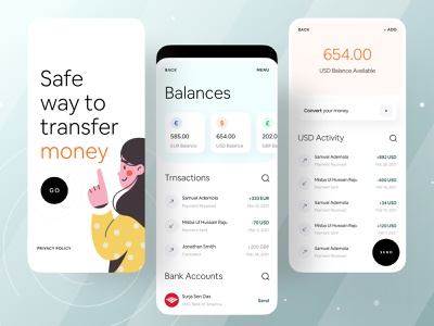 Safe way to transfer money clean app design minimal app stripe paypal paytm transferwise ofspace academy ofspace agency ofspace fintech branding studio fintech logo fintech app fintech branding money transfer app money transfer financial financial app finance app finance fintech