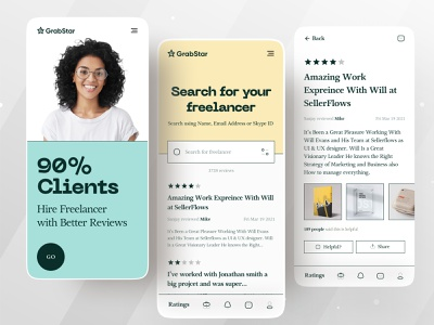 Grabstar | A review rating platform for the Freelancer & Clients creative typography type minimal app design minimal app dribbble ofspace academy ofspace agency ofspace 2021 trend dribbble 2021 retro design style retro logo retro font retro design retro ratings rating reviews review