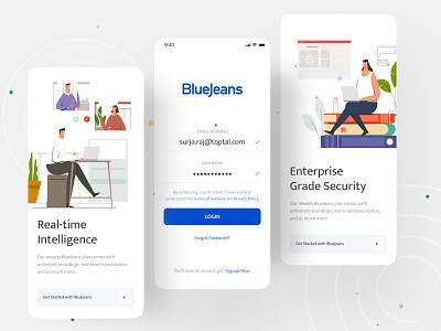 BlueJeans Redesign Experience ios app branding logo gradient ui ux template design creative dribbble best shot illustrations app design bluejeans redesign bluejeans