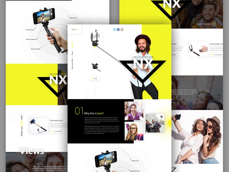 Selfie Stick - Single Product Template dribbble best shot ecommerce single product template selfie template template selfie ux ui
