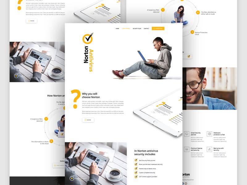 Landing Page Design for Norton dribbble best shot psd template landing page norton antivirus psd design dribbble